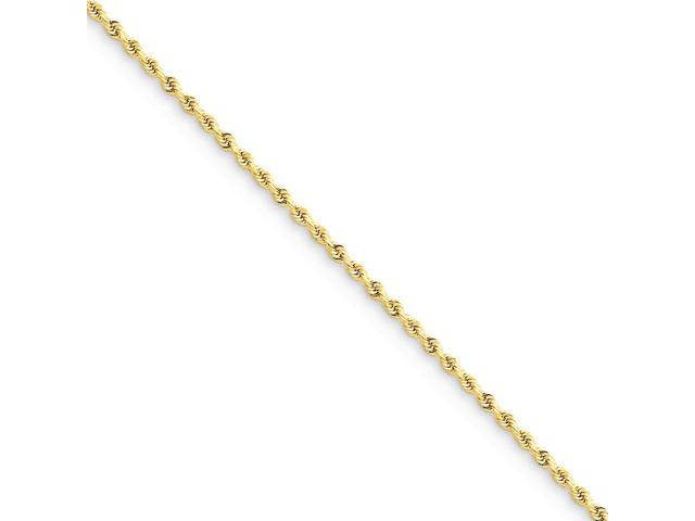 14k Yellow Gold 6in 2.00mm D/C Rope with Lobster Clasp Chain Bracelet