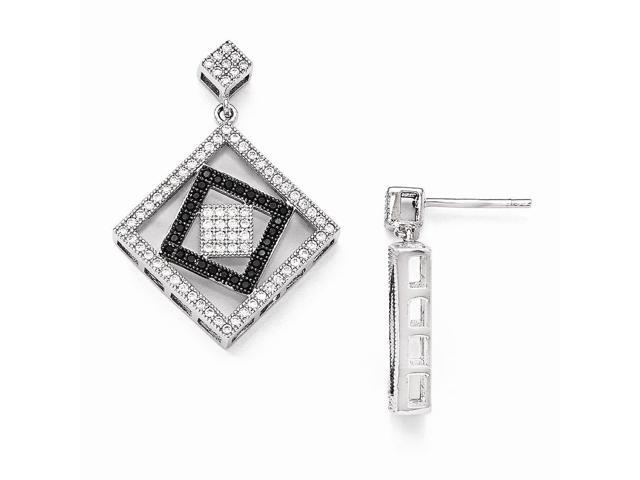 Sterling Silver Rhodium Plated & Synthetic CZ Brilliant Embers Dangle Post Earrings (1.1IN x 0.8IN )