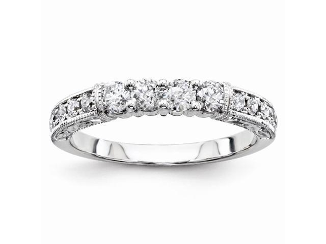 14K White Gold Diamond Bridal Band Ring (Color H-I, Clarity SI2-I1)