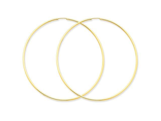 14k Yellow Gold 1.5mm Polished Round Endless Hoop Earrings. 63mm Diameter.