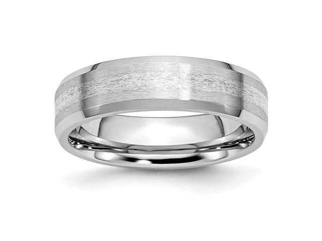 Cobalt Chromium Sterling Silver Engravable Inlay Satin/Polish 6mm Band.