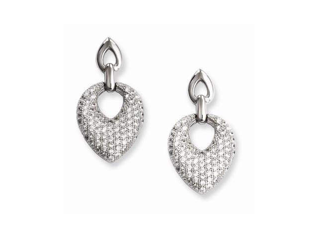 Sterling Silver & Synthetic CZ Embers Dangle Post Earrings