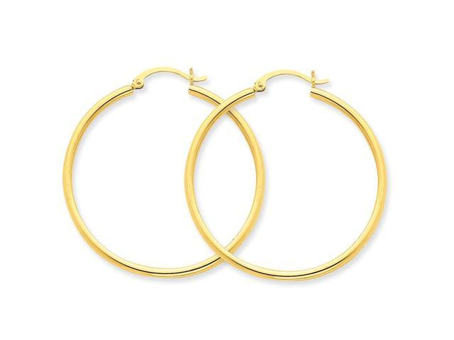 14k Yellow Gold Polished 2mm Round Hoop Earrings (40mm Diameter)