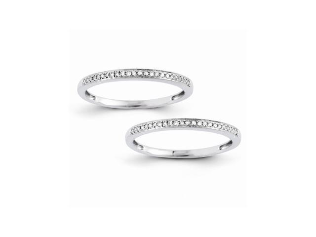 14k White Gold Set of 2 Wedding Bands (Color H-I, Clarity SI2-I1)