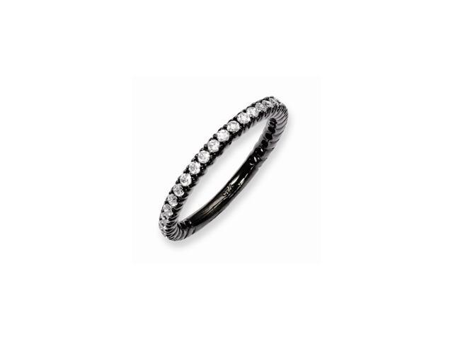Sterling Silver Black Plated with Synthetic CZ Ring-- Size 6