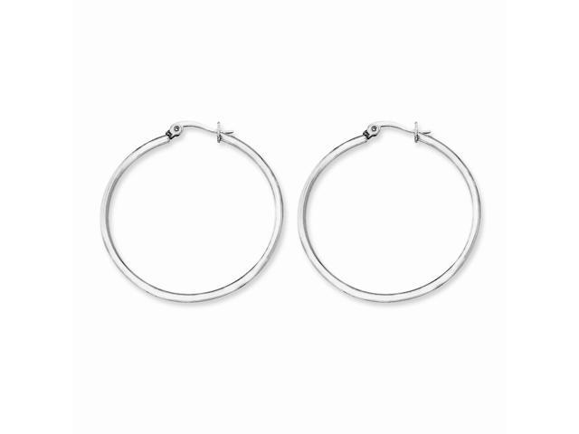 Stainless Steel 40.50mm Diameter Hoop Earrings