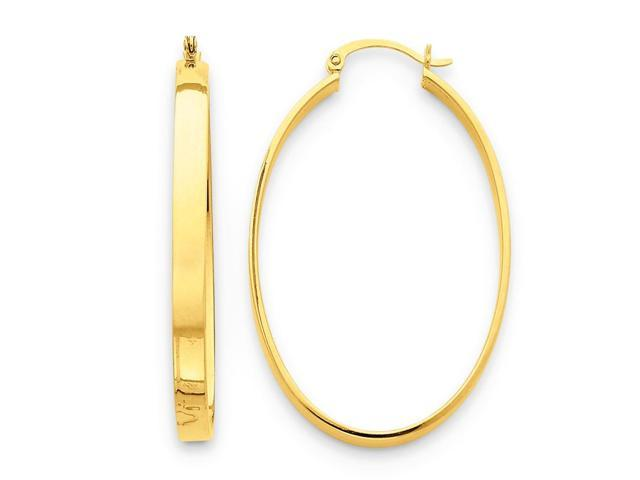 14k Yellow Gold LightWt Oval Hoop Earrings. Length 48mm x Width 30mm.