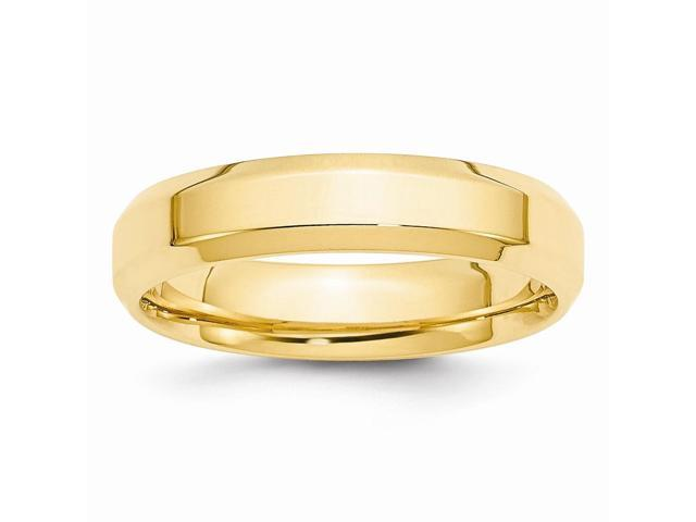 14k Yellow Gold 5mm bevel edge wedding Band