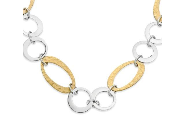 Stainless Steel 14k Gold IP Plated Circles Link Necklace (23in long)