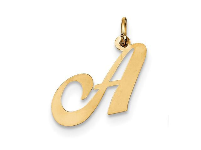 14k Yellow Gold Medium Fancy Script Initial A Charm Pendant