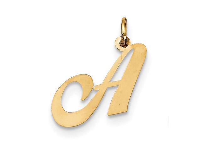 14k Yellow Gold Medium Fancy Script Initial A Charm Pendant