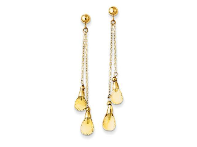 14k Yellow Gold 1.9IN Long Citrine Dangle Post Earrings