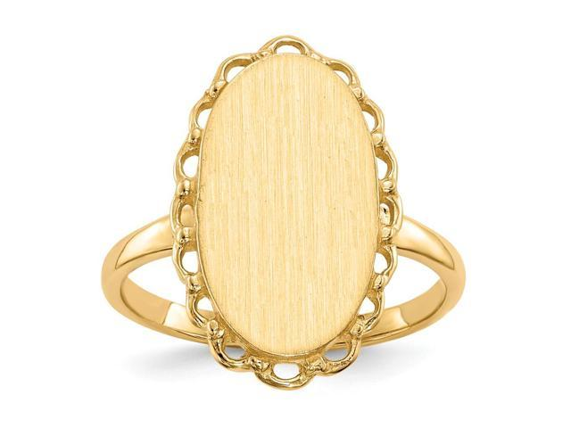 14k Yellow Gold Engravable Signet Ring (15.9mm x 9.2mm face)