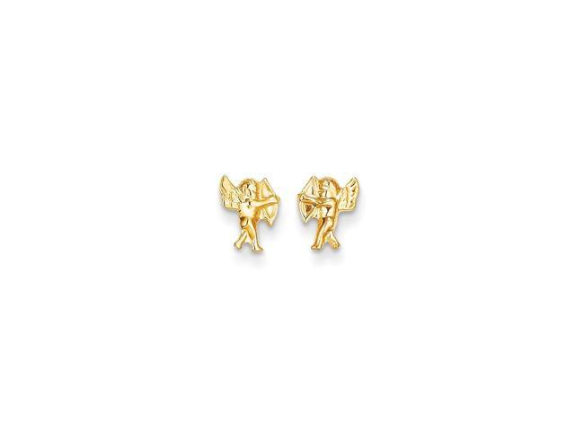 14k Yellow Gold Childs Angel w/ Bow Post Earrings w/ Gift Box (8MM Long x 6MM Wide)