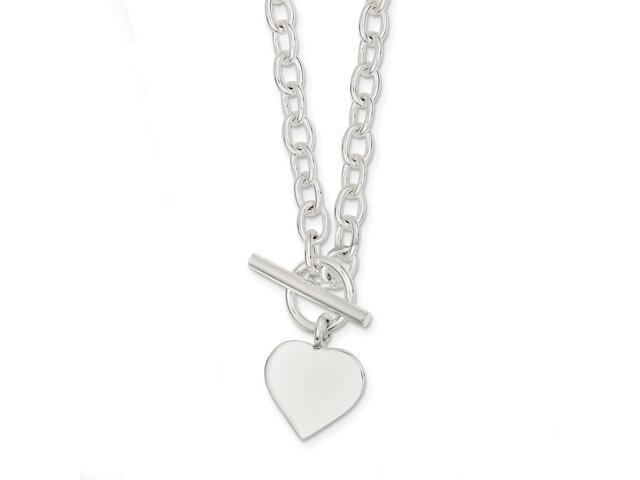 Sterling Silver 18in Engraveable Heart Necklace