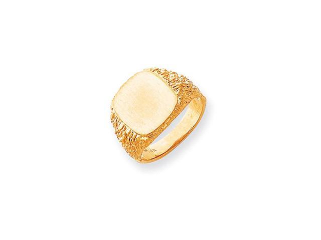 14k Yellow Gold Engravable Men's Signet Ring (13.4mm x 13.3mm face)