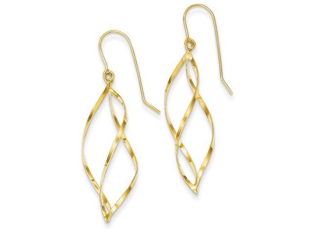 14k Yellow Gold Swirl Dangle Earrings (1.7IN x 0.3IN )