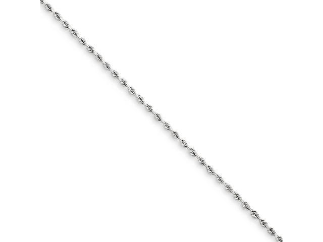 14k White Gold 7in 1.5mm Handmade D/C Rope Chain Bracelet