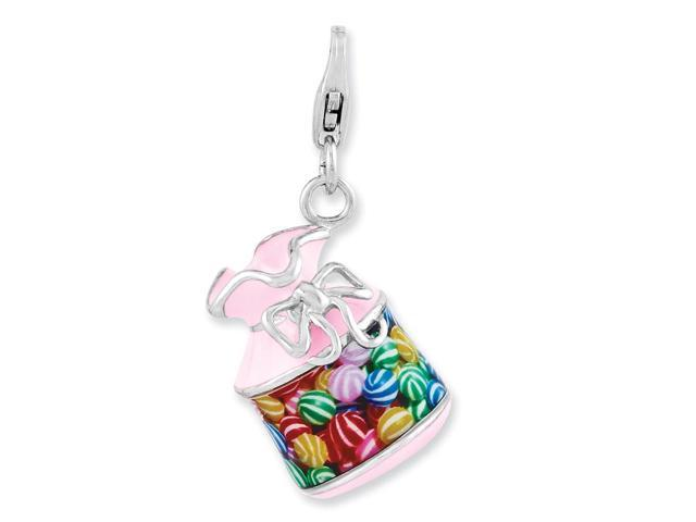 Sterling Silver Enameled 3-D Candy Jar with Lobster Clasp Charm (0.8IN long x 0.6IN wide)