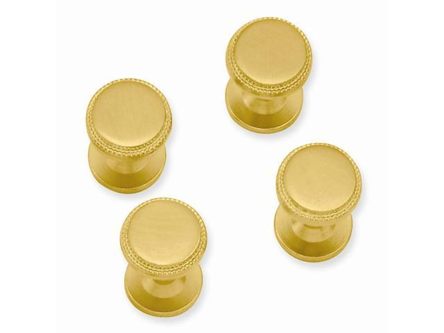 Stainless Steel 14K Gold Plated Engravable Four Piece Florentined Beaded Tuxedo Studs