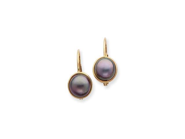 14k Yellow Gold 6.5-7mm Black Freshwater Cultured Pearl Button Cultured Pearl Leverback Earrings. (0.6IN x 0.3IN)