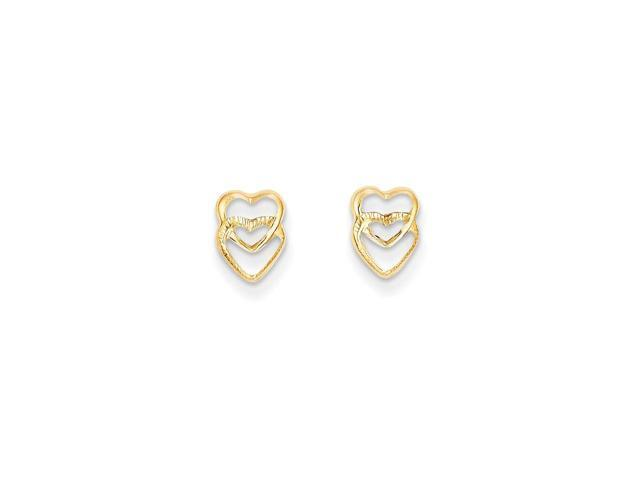 14k Yellow Gold Childs Hearts Post Earrings w/ Gift Box (8MM Long x 6MM Wide)