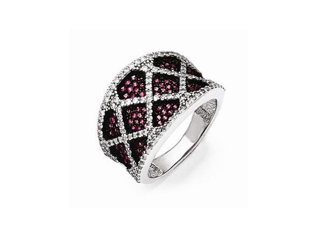 Sterling Silver Rhodium Plated White & Red Synthetic CZ Embers Ring