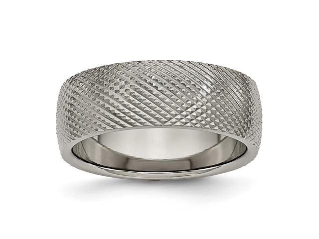 Titanium 8mm Patterned Polished Engravable Band