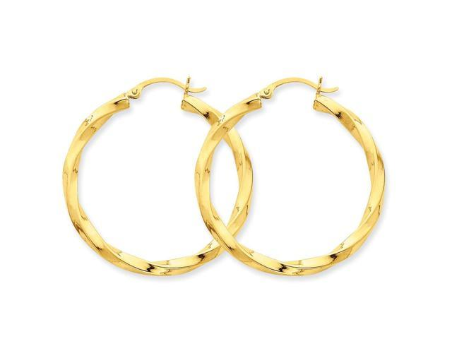 14k Yellow Gold Polished 3mm Twisted Hoop Earrings. Length 40mm x Width 37mm.