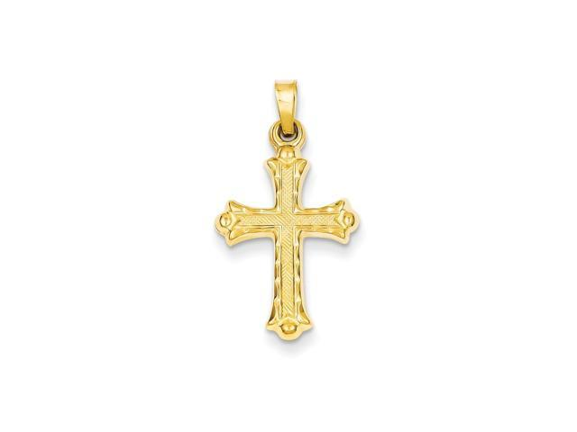14k Yellow Gold Hollow Fleur De Lis Cross Pendant
