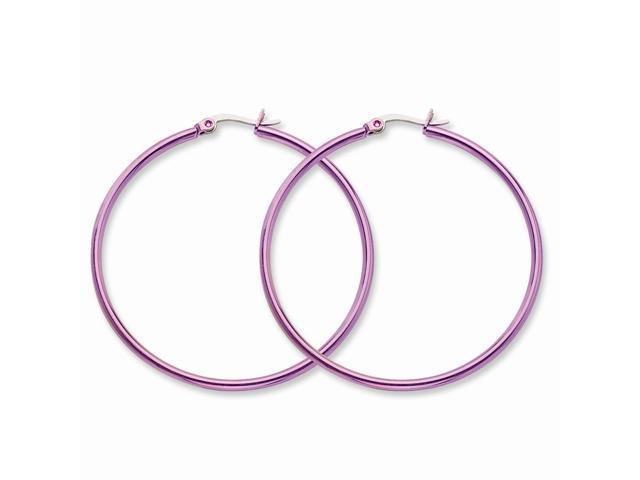 Stainless Steel Pink 48mm Hoop Earrings (1.8IN Long)
