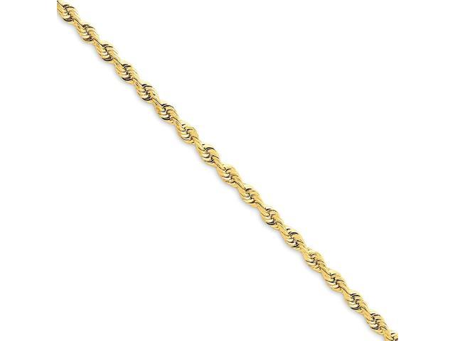 14k Yellow Gold Men's 9in 3.0mm D/C Quadruple Rope Chain Bracelet