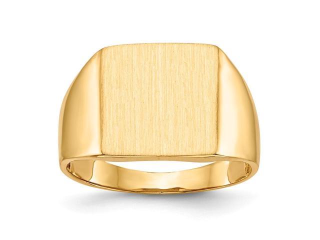 14k Yellow Gold Engravable Men's Signet Ring (13.5mm x 11.8mm face)
