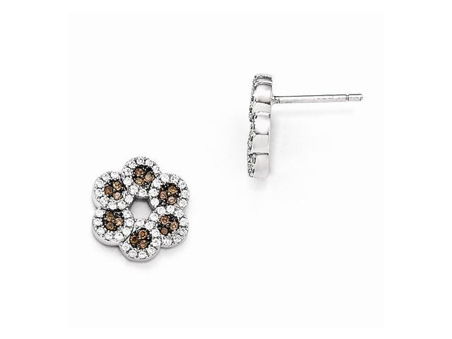 Sterling Silver Rhodium Plated & Synthetic CZ Brilliant Embers Coffee Flower Post Earrings (0.5IN x 0.5IN )
