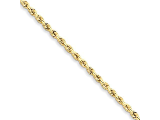 14k Yellow Gold 9in 3mm D/C Rope with Lobster Clasp Chain Bracelet