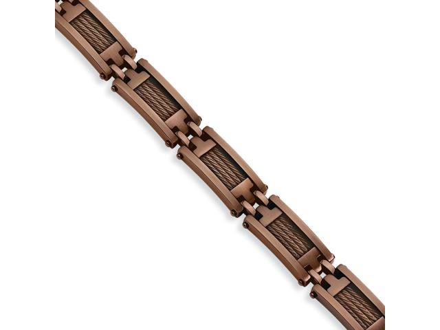 Stainless Steel Chocolate Color IP-plated Bracelet (9in long)