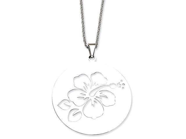 Stainless Steel Polished Hibiscus Cutout Pendant 22in Necklace