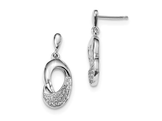Sterling Silver Rhodium Plated & Synthetic CZ Brilliant Embers Dangle Post Earrings (0.8IN x 0.3IN )