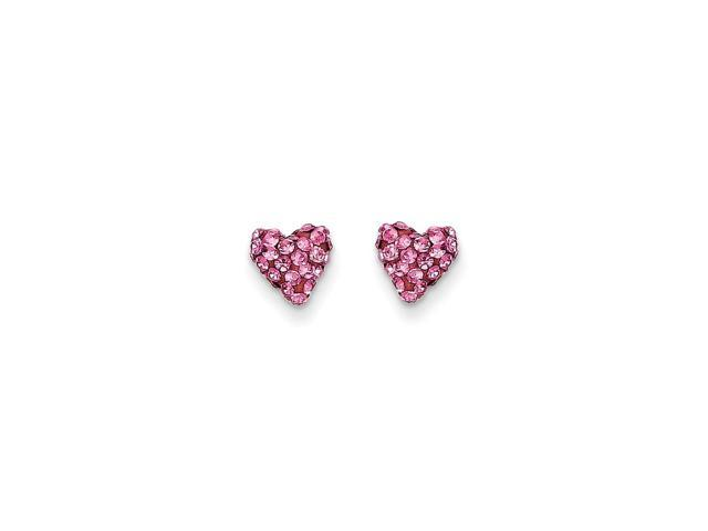 14k Yellow Gold Childs Pink Crystal Heart Post Earrings w/ Gift Box. (7MM)