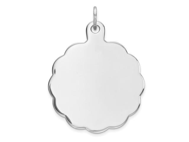 Sterling Silver Engraveable Disc Charm (1IN long x 0.9IN wide)