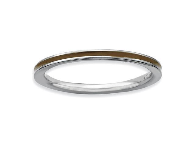 Glamour Style 925 Sterling Silver Rhodium Plated Stackable Brown Enamel Band
