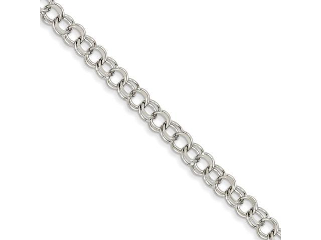 14k White Gold 8in Double Link Charm Bracelet