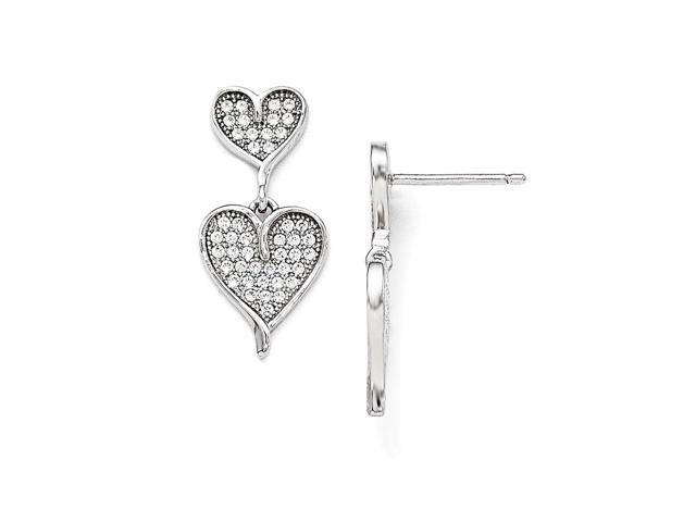 Sterling Silver Rhodium Plated & Synthetic CZ Brilliant Embers Dangle Heart Post Earrings (0.8IN x 0.3IN )