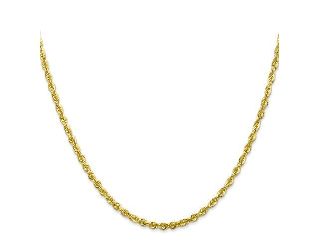 10k Yellow Gold 8in 2.75mm D/C Extra-Lite Rope Chain Bracelet