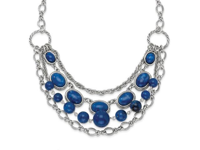 Silvertone Blue Beads 16in with Ext Necklace