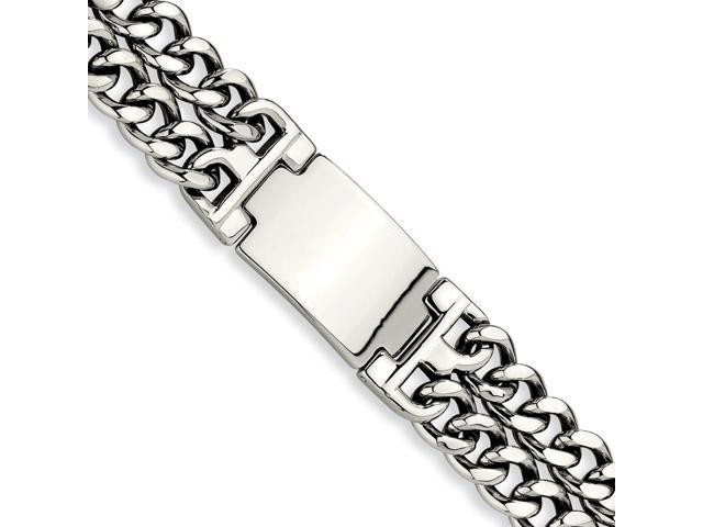 Stainless Steel Engravable Double Curb Chain ID Bracelet (8.5in long)