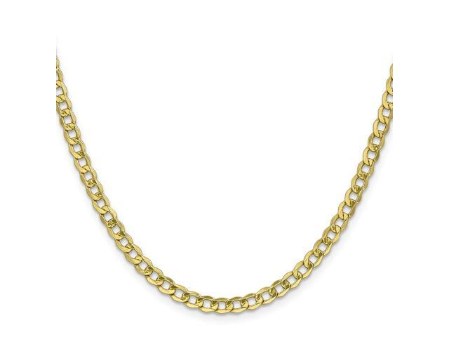 10k Yellow Gold 8in 4.3mm Semi-Solid Curb Link Chain Bracelet