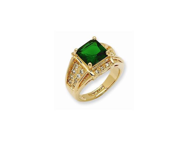 24k Gold Plated Swarovski Crystal Green Princess-cut Ring