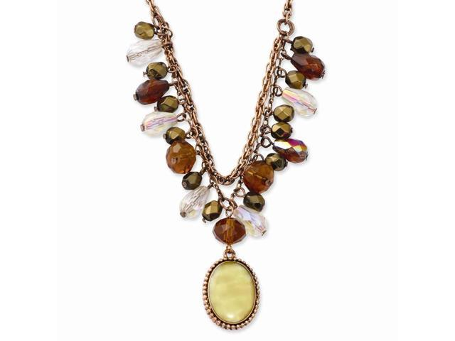 Copper-tone Brown Crystal Mother of Pearl Oval 16in with ext Necklace
