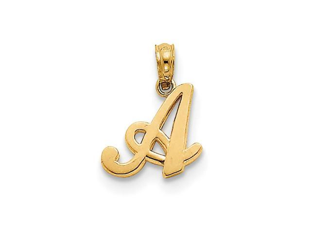 14k Yellow Gold A Script Initial Pendant.
